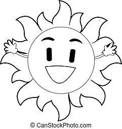 esboçado, sol, mascote