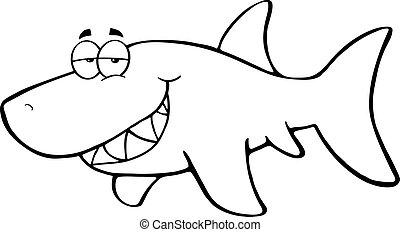 esboçado, tubarão, feliz