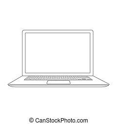 esboçado, vetorial, laptop, ilustração