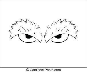 esboçado, zangado, caricatura, olhos