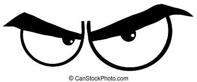 esboçado, zangado, olhos, caricatura