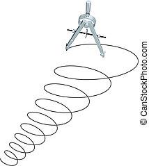 esboçar, desenho, compasso, desenho, círculos, espiral, cima