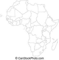 esboço, áfrica, mapa