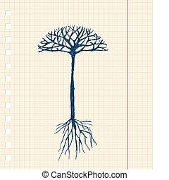 esboço, árvore, com, raizes, para, seu, desenho
