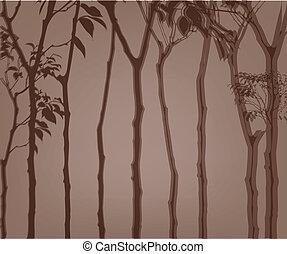 esboço, árvores