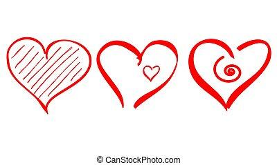 esboço, ícone, coração, apoplexia, forma, logotipo, escova, amor, vetorial, desenhar