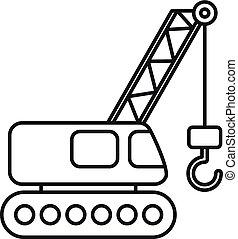 esboço, ícone, guindaste, construção, estilo, escavador