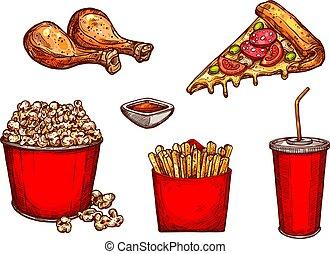 Esboço, ícones, alimento, Lanches, rapidamente, vetorial,...