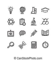 esboço, ícones, ciência, set., vetorial, pretas