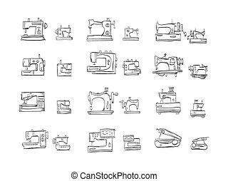 esboço, ícones, cosendo, cobrança, máquina, vetorial