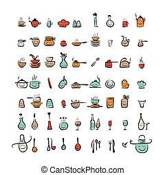 esboço, ícones, desenho, utensílios, caráteres, desenho, seu, cozinha