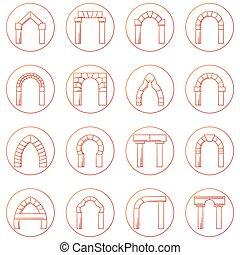 esboço, ícones, diferente, cobrança, vetorial, arco, tipos