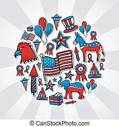 esboço, ícones, estilo, eua, eleições