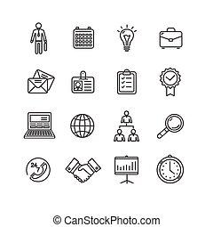 esboço, ícones negócio, set., vetorial, pretas