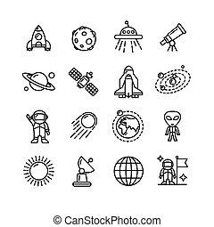 esboço, ícones, set., vetorial, pretas, spase, branca