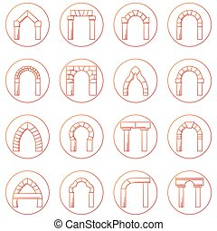 esboço, ícones, vetorial, cobrança, de, diferente, tipos, arco