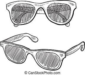 esboço, óculos de sol
