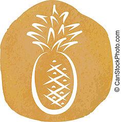 esboço, abacaxi