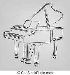 esboço, abstratos, ilustração, vetorial, piano grande