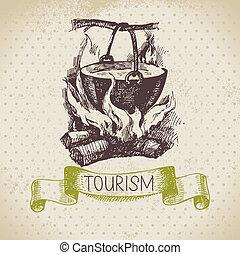 esboço, acampamento, caminhada, ilustração, mão, experiência., vindima, desenhado, turismo