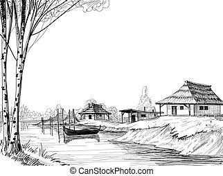 esboço, aldeia pescando