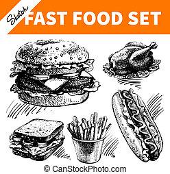 esboço, alimento, set., rapidamente, mão, ilustrações, desenhado
