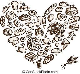 esboço, ame coração, conceito, panificadora, desenho, seu