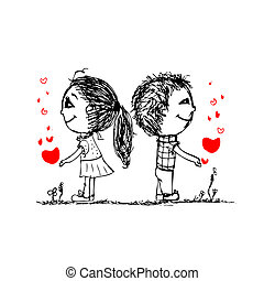 esboço, amor, par, valentine, desenho, junto, seu