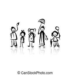 esboço, andar, desenho, seu, família