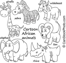 esboço, animais, caricatura, africano