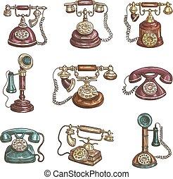 esboço, antigas, ícones, telefones, retro, vindima