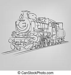 esboço, antigas, abstratos, ilustração, vetorial, locomotiva