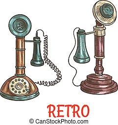 esboço, antigas, cor, vindima, retro, telefones