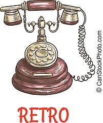 esboço, antigas, cor, vindima, telefone, retro