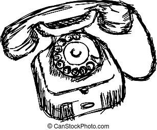 esboço, antigas, maçã, telephone., doodle, rotativo, ilustração, isolado, vetorial, desenhado, mão