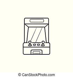 esboço, arcada, doodle, mão, máquina, jogo, desenhado, icon.