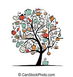 esboço, arte, árvore, utensílios, desenho, desenho, seu, cozinha
