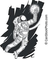 esboço, astronauta, ou, spaceman