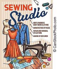 esboço, atelier, cartaz, costurando, cosendo, vetorial