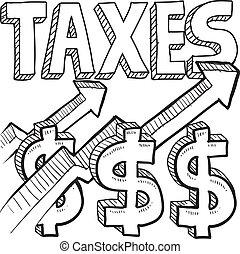 esboço, aumento, impostos