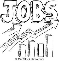 esboço, aumento, trabalhos