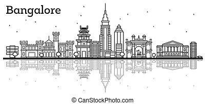 esboço, bangalore, skyline, com, edifícios históricos, e,...