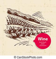 esboço, banner., vindima, ilustração, mão, fundo, desenhado, paisagem, vinho