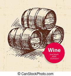 esboço, banner., vindima, ilustração, mão, fundo, desenhado, vinho