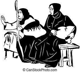 esboço, bench(1).jpg, dois, pretas, 7, mantôs, mulheres