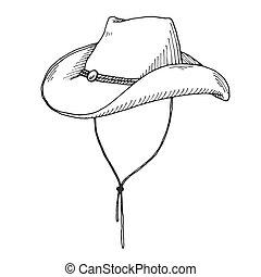 esboço, boiadeiro, isolado, experiência., chapéu branco