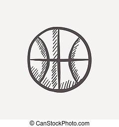 esboço, bola basquetebol, ícone