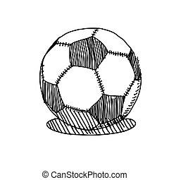 esboço, bola, ilustração, mão, vetorial, futebol, desenho
