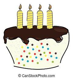 esboço, bolo, isolado, aniversário