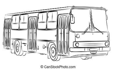 esboço, bus.